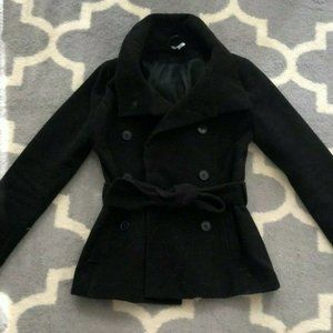 Black Double Breasted Peacoat With Waist Belt Tie